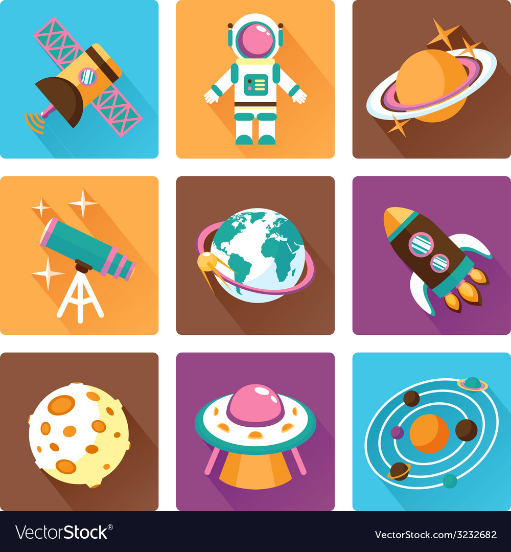 Space flat icons set vector | Price: 1 Credit (USD $1)