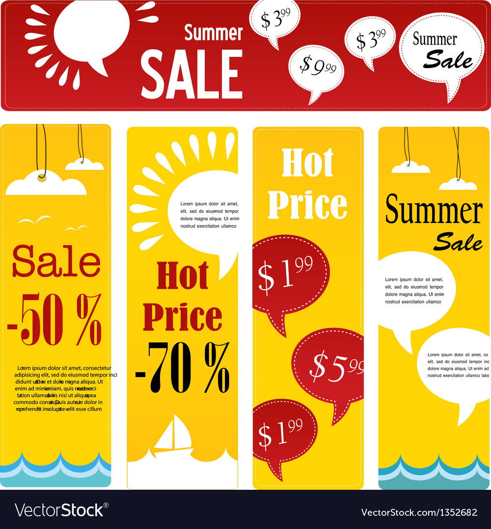 Summer sale tags set with speech vector | Price: 3 Credit (USD $3)