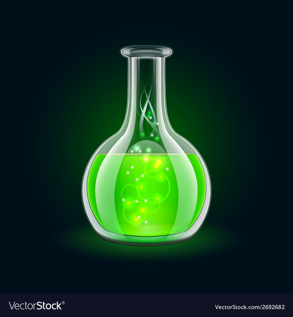 Transparent flask with magic green liquid on black vector | Price: 1 Credit (USD $1)