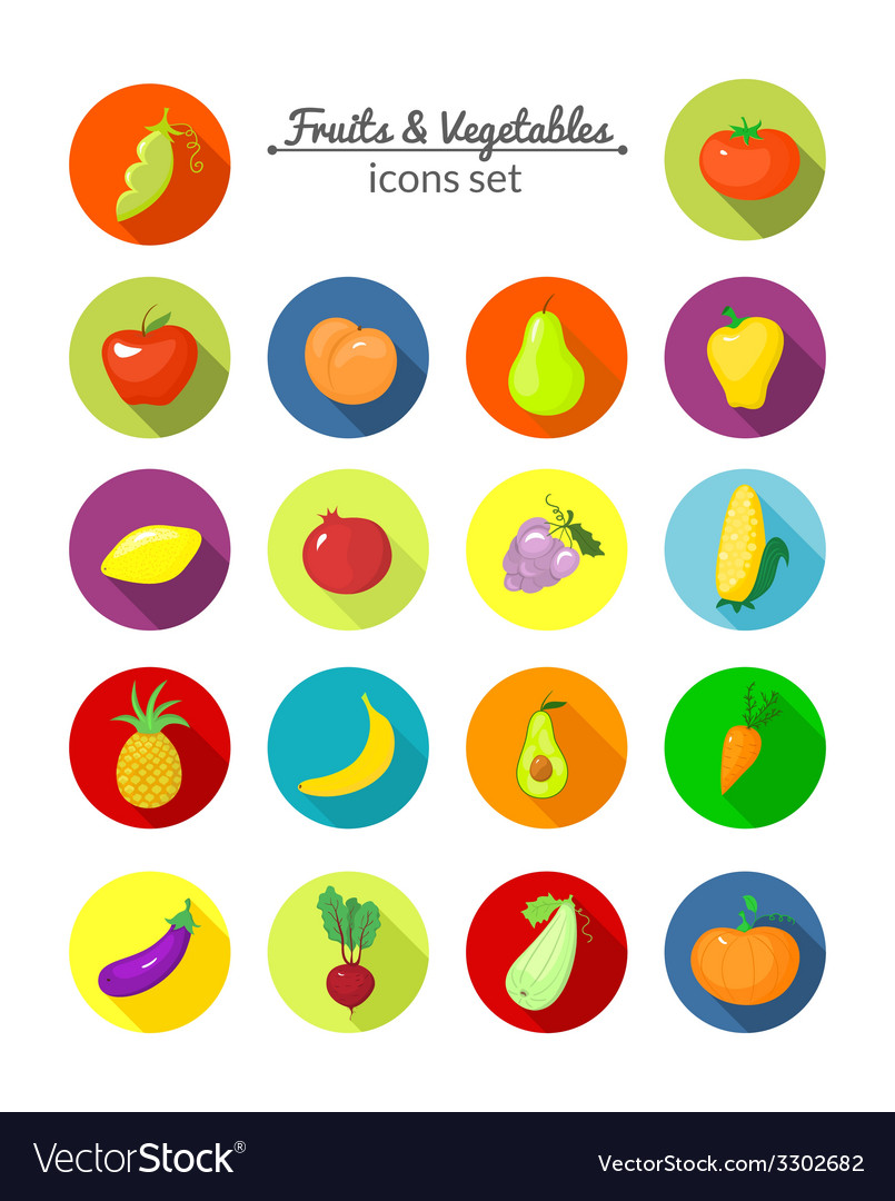 Vegetables and fruits round icons vector | Price: 1 Credit (USD $1)