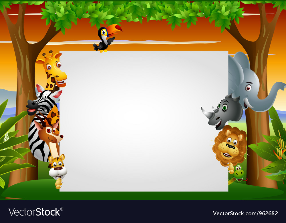 Wild african animal cartoon with blank sign vector | Price: 3 Credit (USD $3)