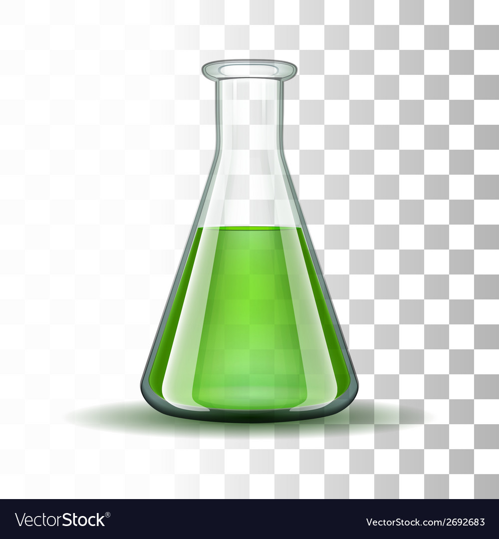 Chemical laboratory transparent flask with green vector | Price: 1 Credit (USD $1)
