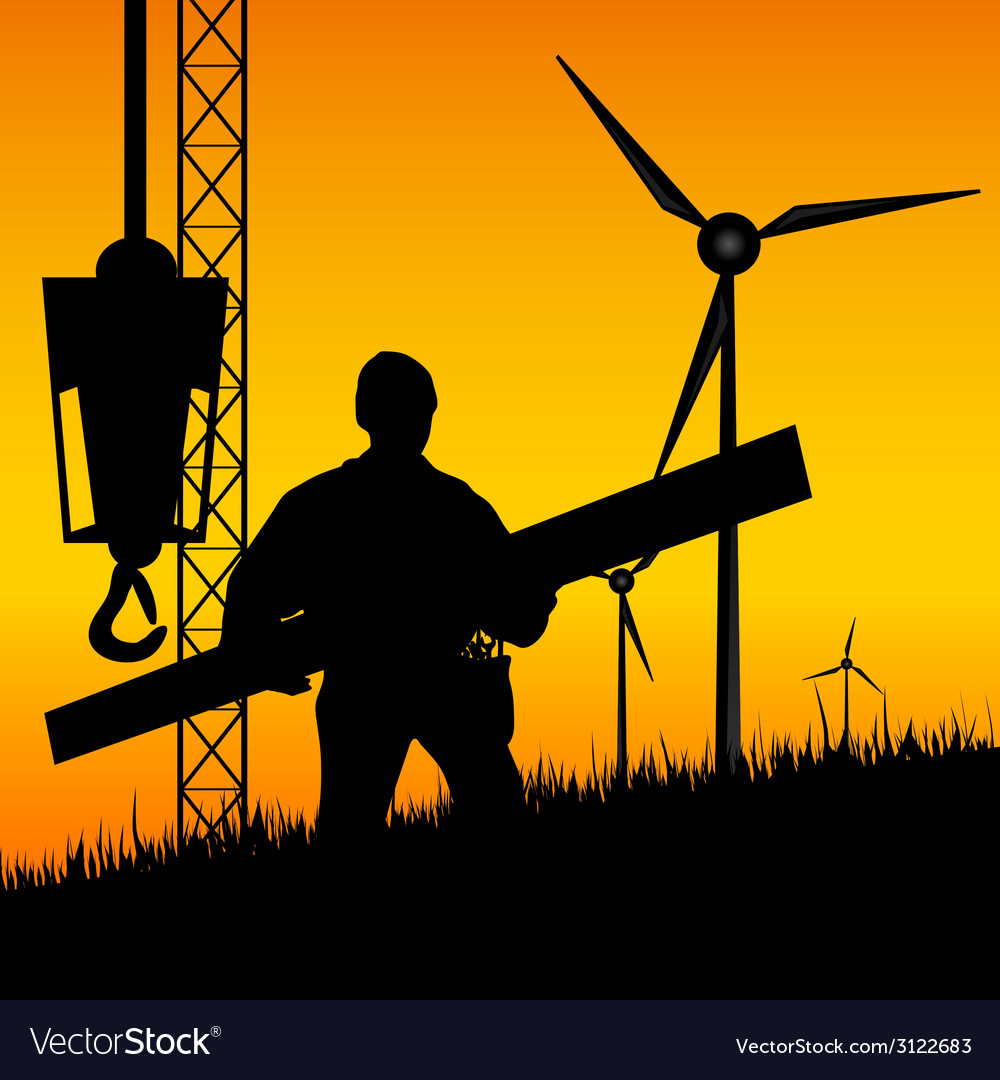 Construction worker builds windmills vector | Price: 1 Credit (USD $1)