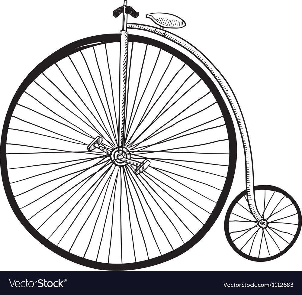 Doodle bike penny farthing vector | Price: 1 Credit (USD $1)