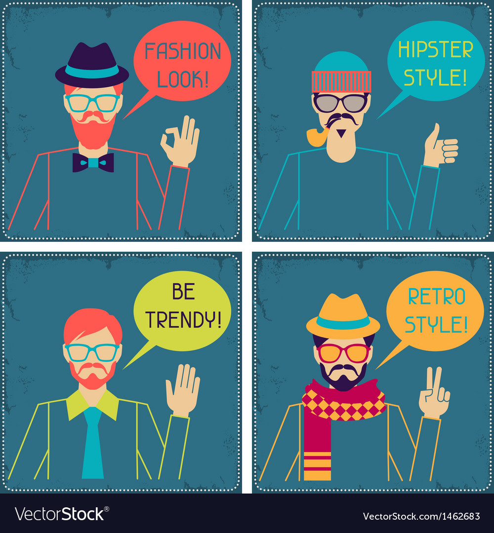 Hipster cards in retro style vector | Price: 1 Credit (USD $1)
