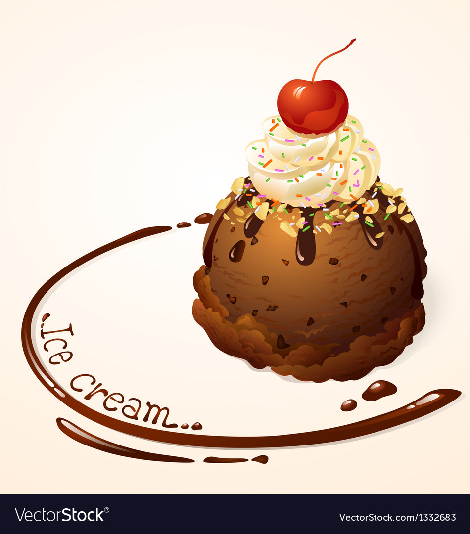 Ice cream ball choc chip vector | Price: 1 Credit (USD $1)