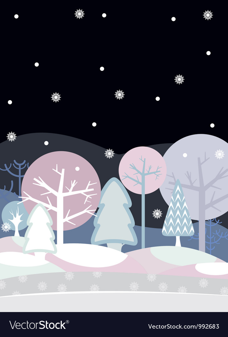 Night forest winter vector | Price: 1 Credit (USD $1)