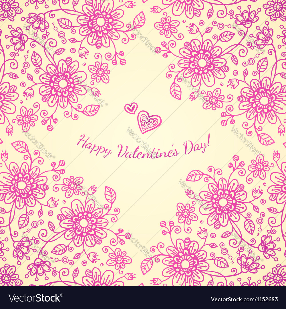 Pint valentines day doodle flowers background vector | Price: 1 Credit (USD $1)