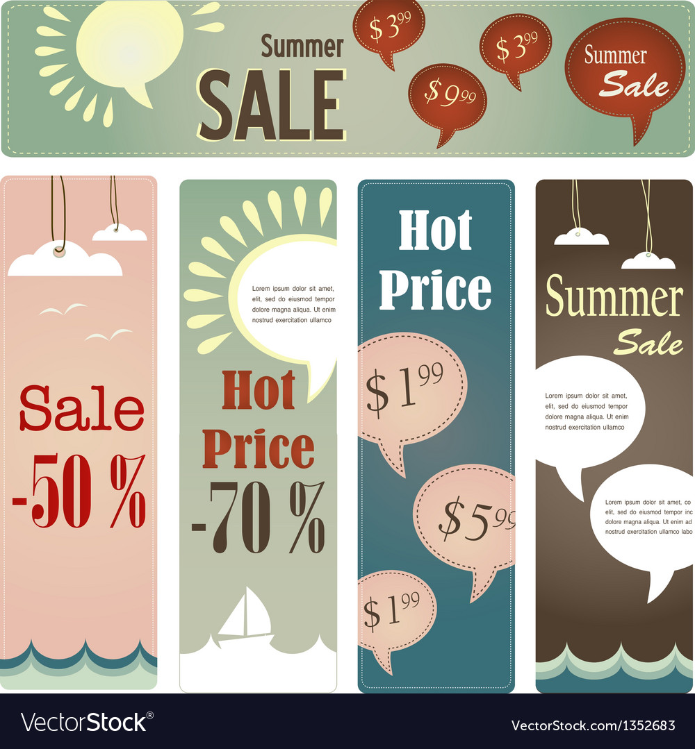 Retro tag set for summer sale vector | Price: 3 Credit (USD $3)