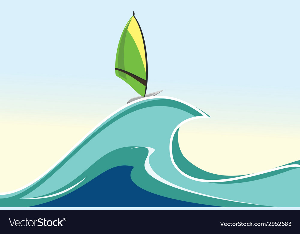 Sea windsurfing vector | Price: 1 Credit (USD $1)