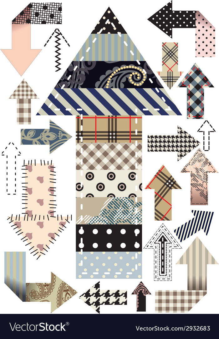 Set of patchwork arrows vector | Price: 1 Credit (USD $1)