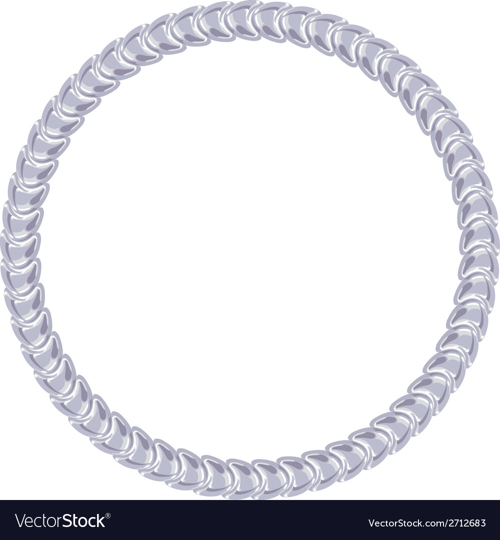 Silver chain - round frame on the white background vector | Price: 1 Credit (USD $1)
