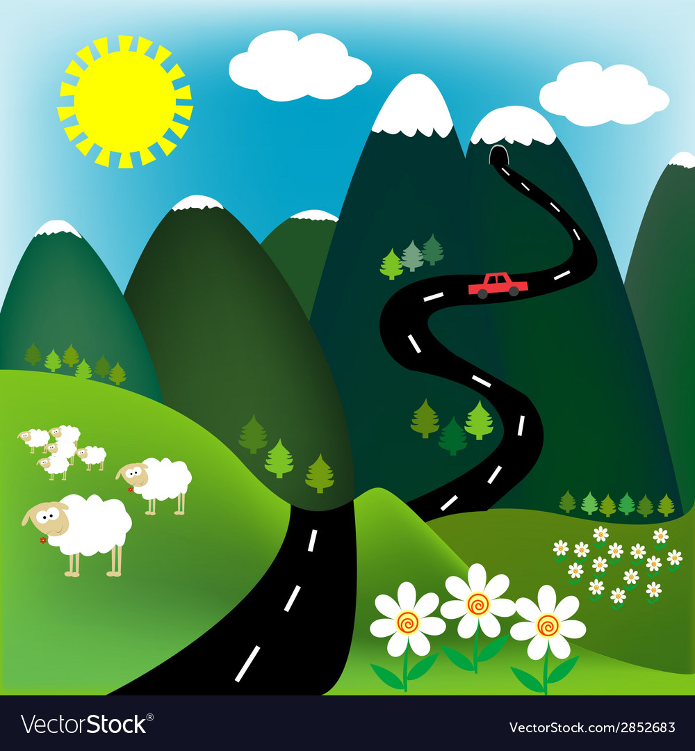 Summer landscape at the mountain vector | Price: 1 Credit (USD $1)