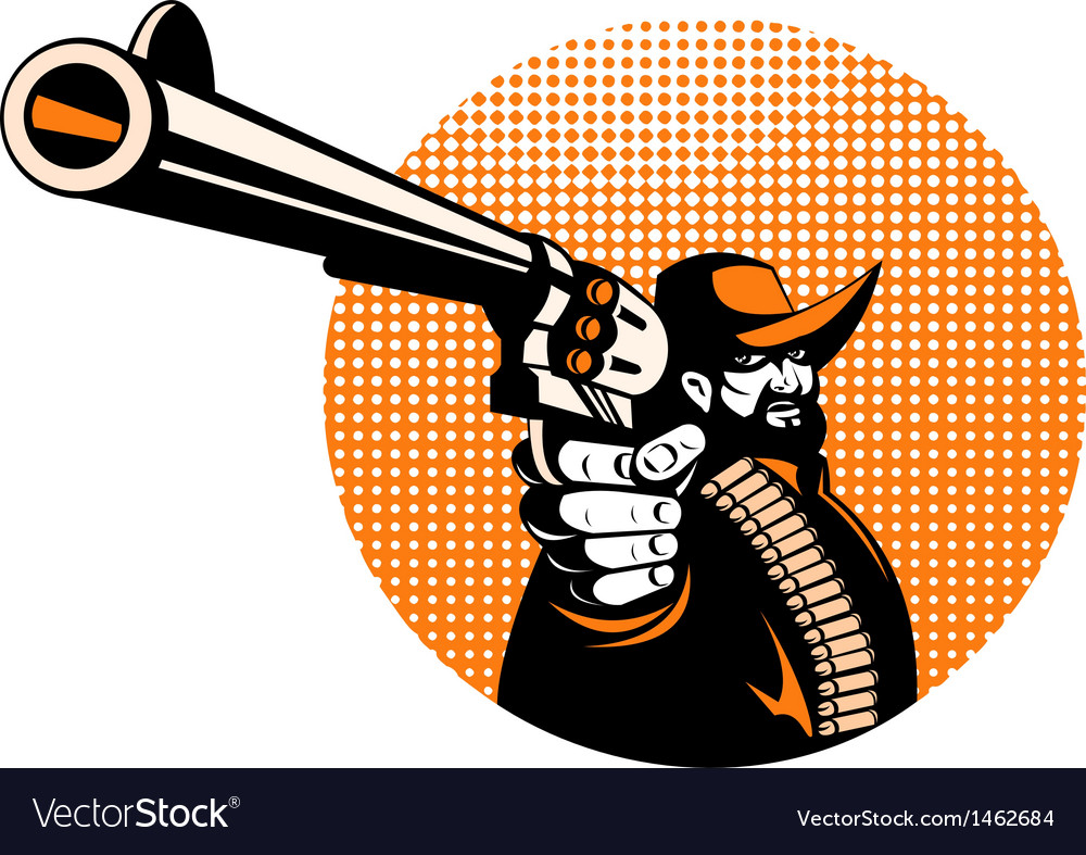 Bandit cowboy pointing a revolver hand gun vector | Price: 1 Credit (USD $1)