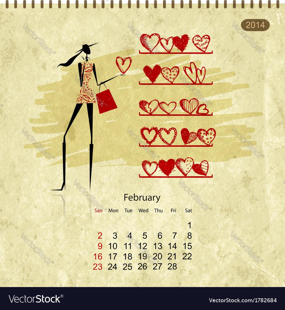 Girls retro calendar 2014 for your design february vector | Price: 1 Credit (USD $1)