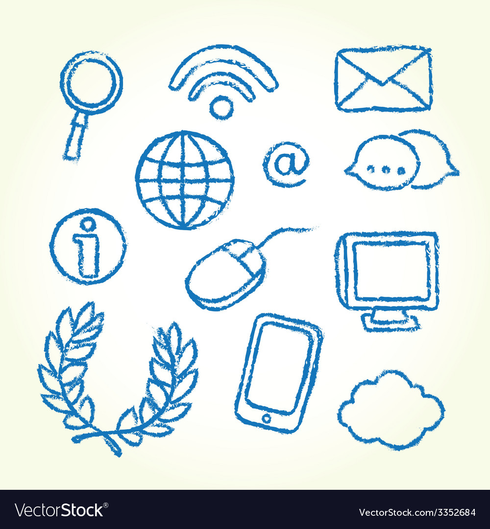 Hand drawn it icons vector | Price: 1 Credit (USD $1)