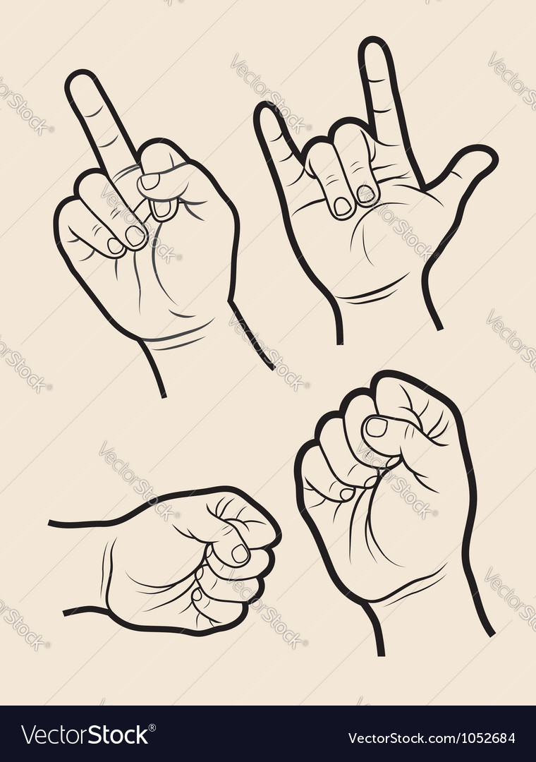 Hand signs 4 vector   Price: 1 Credit (USD $1)