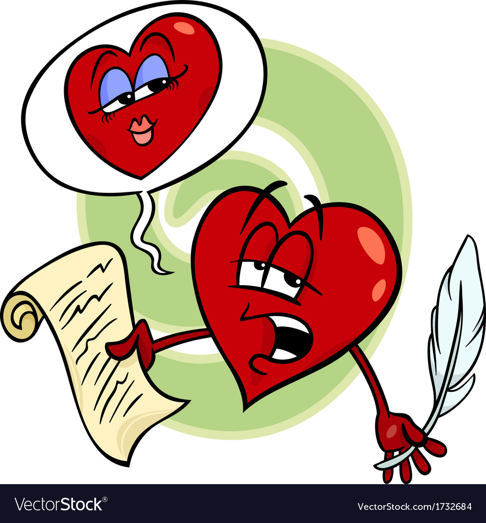 Heart reading love poem cartoon vector | Price: 1 Credit (USD $1)