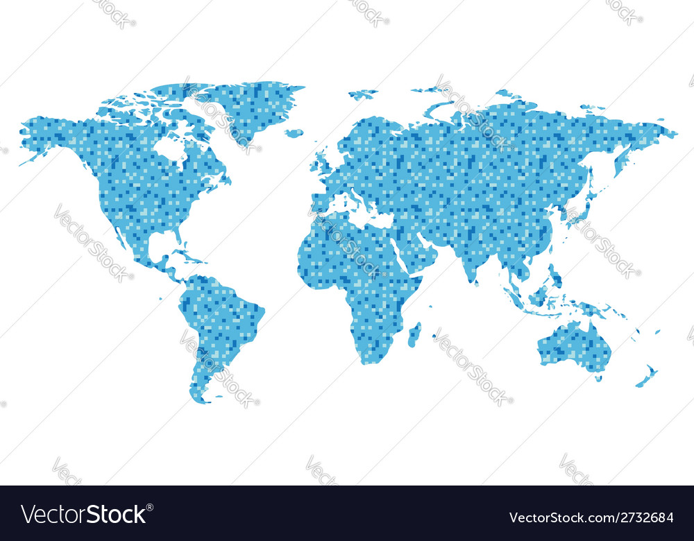 Map of the world with blue square vector | Price: 1 Credit (USD $1)