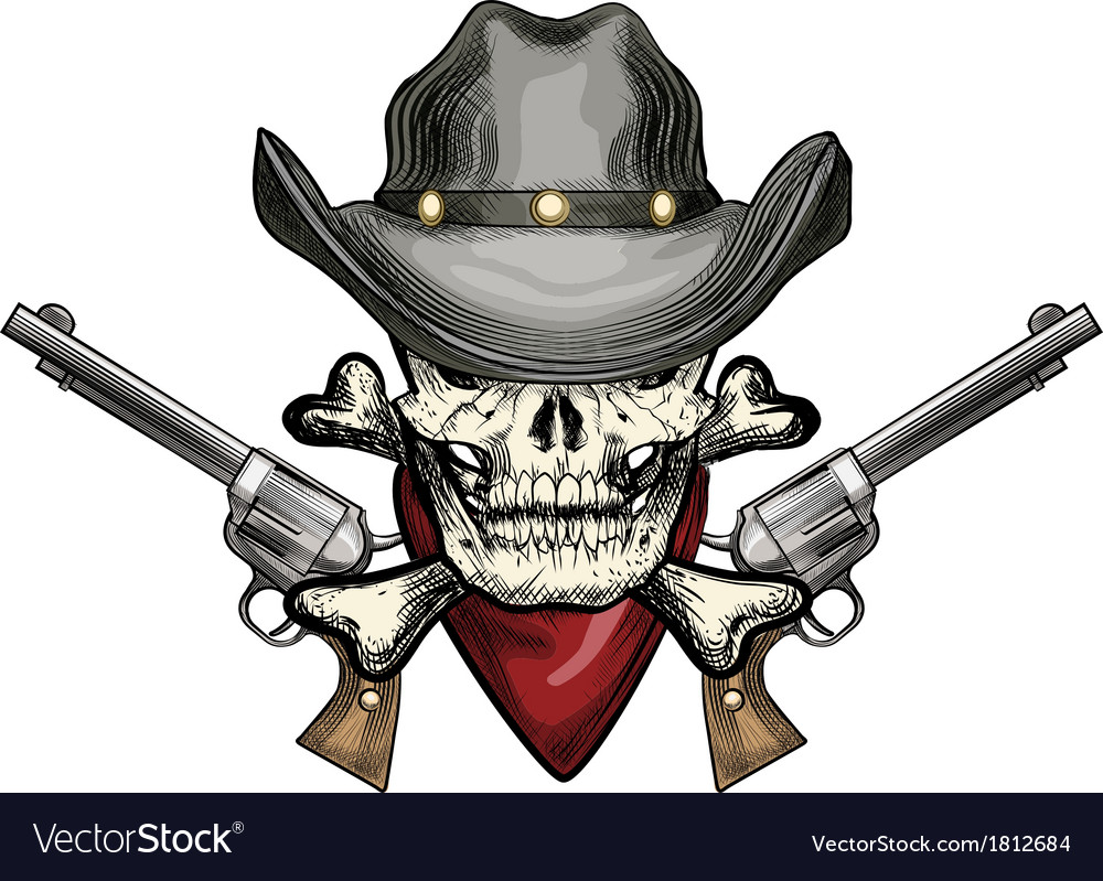 Skull in cowboy hat vector | Price: 1 Credit (USD $1)