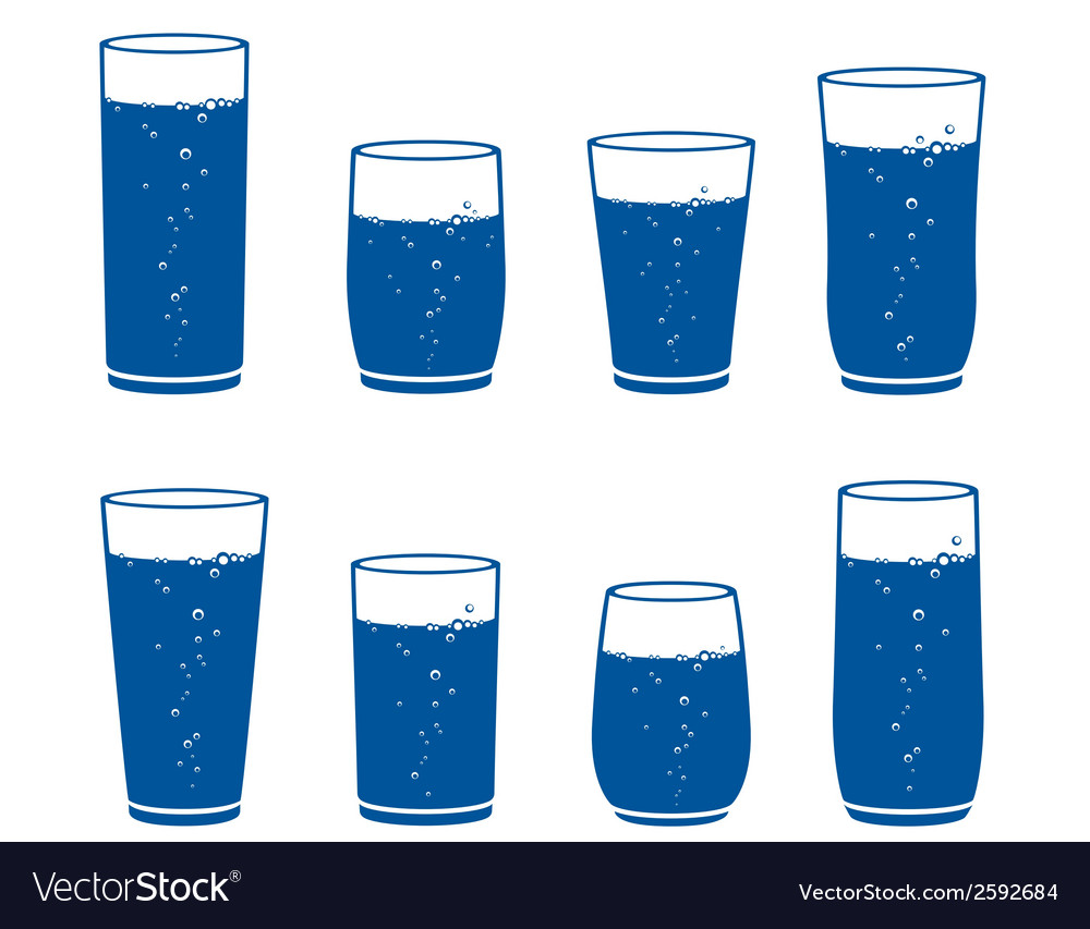 Sparkling water glass set vector | Price: 1 Credit (USD $1)