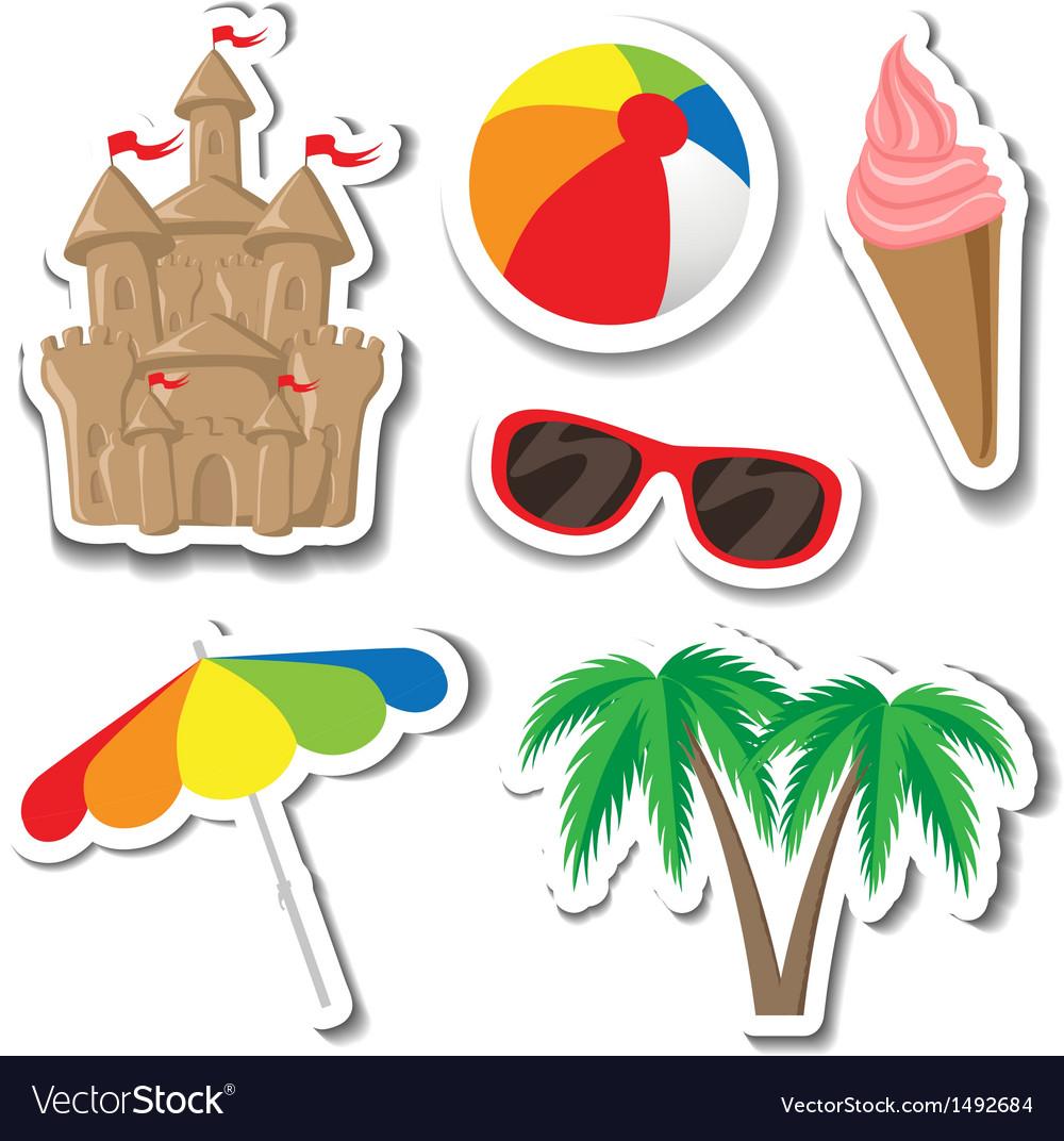 Summer sticker set vector | Price: 1 Credit (USD $1)