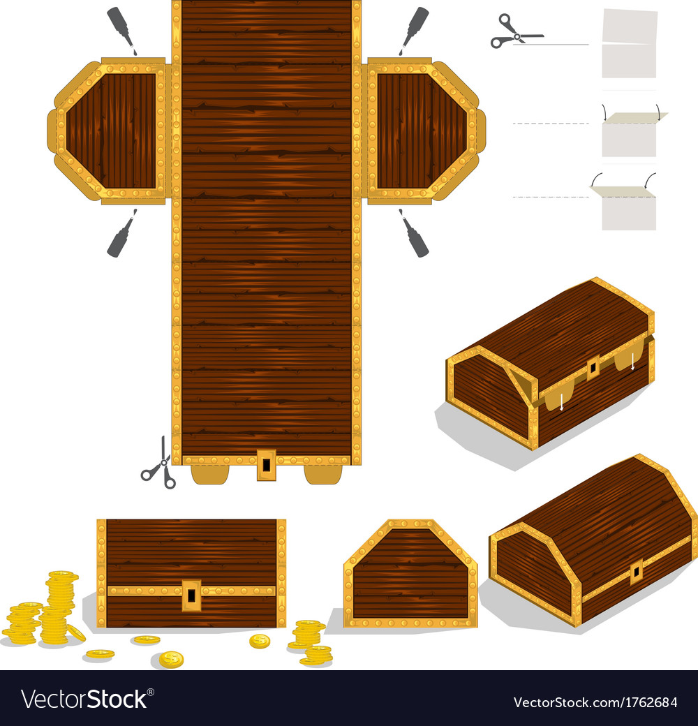 Treasure chest packaging box design vector | Price: 1 Credit (USD $1)