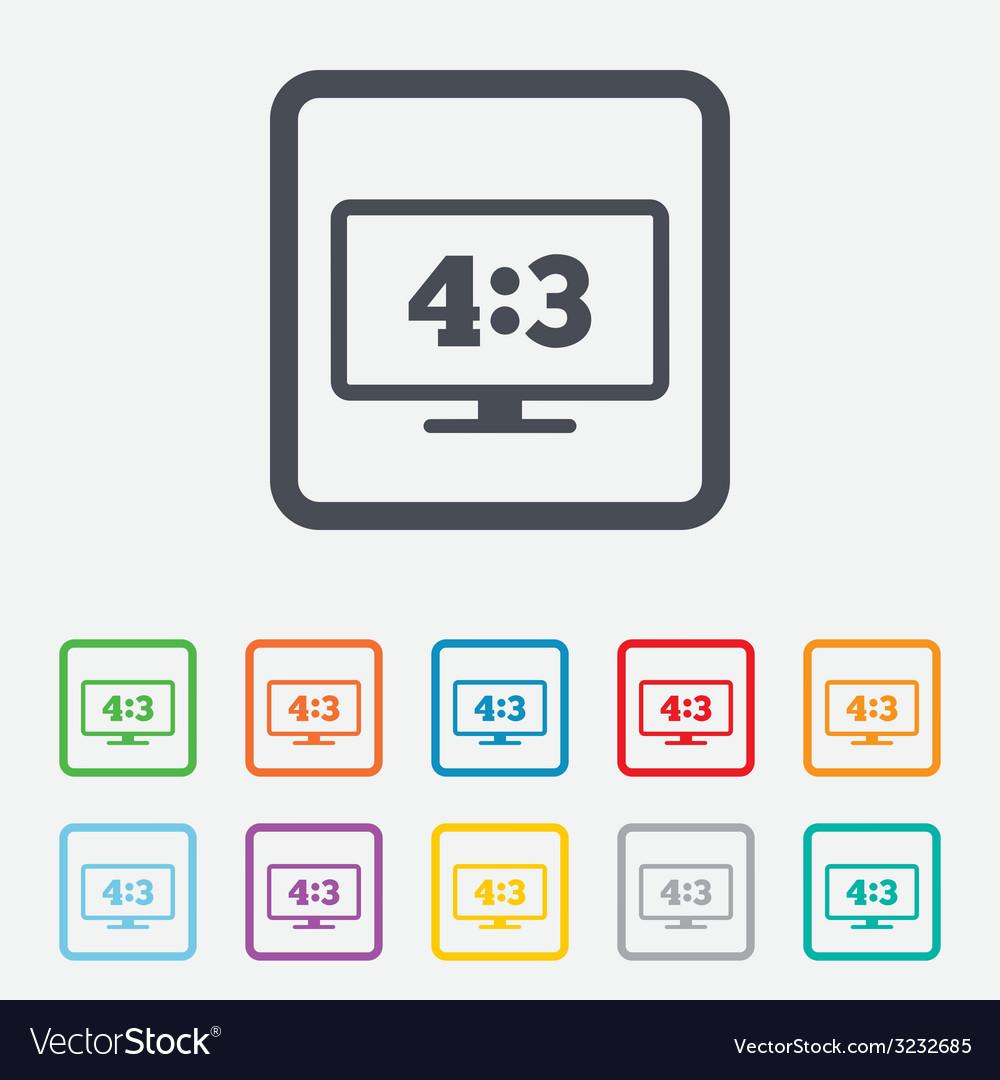 Aspect ratio 43 widescreen tv monitor symbol vector   Price: 1 Credit (USD $1)