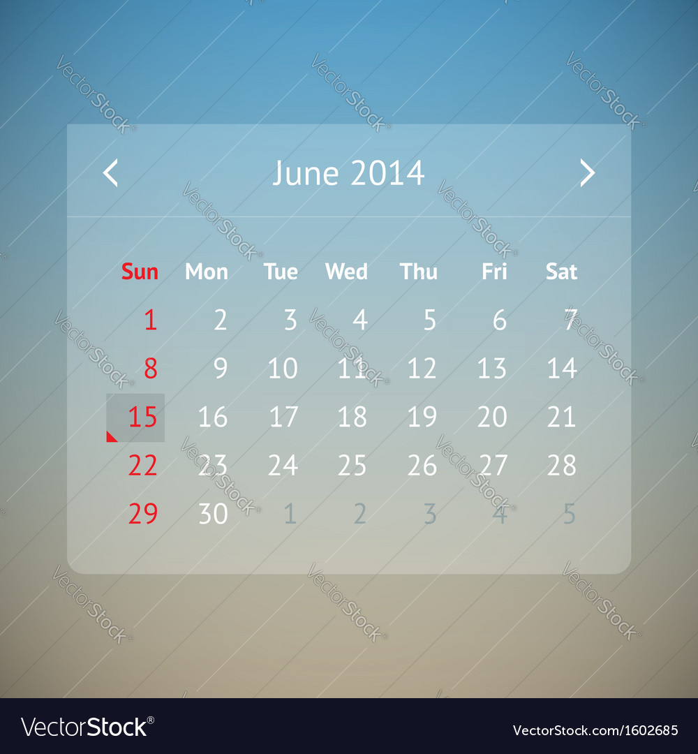 Calendar page for june 2014 vector | Price: 1 Credit (USD $1)