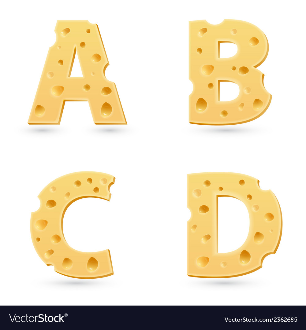 Cheese letters collection vector | Price: 1 Credit (USD $1)