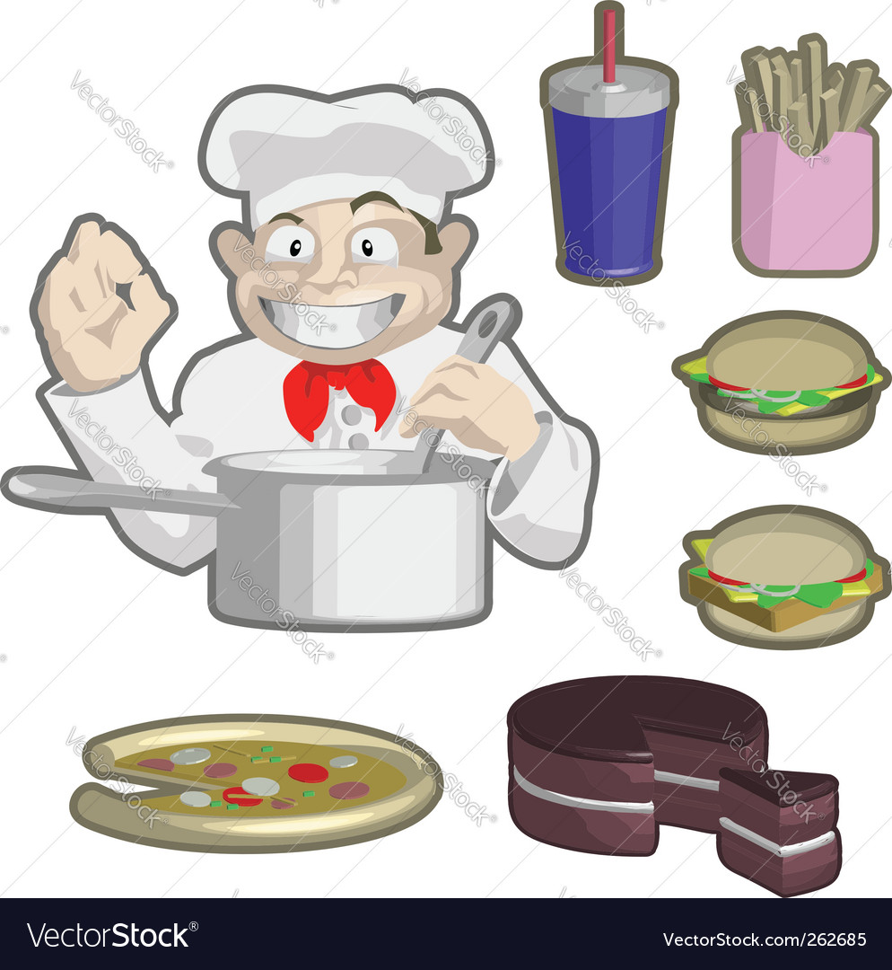 Chef and food vector | Price: 1 Credit (USD $1)