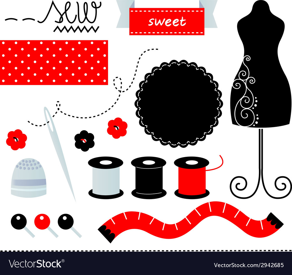 Cute sewing set design elements isolated on white vector | Price: 1 Credit (USD $1)