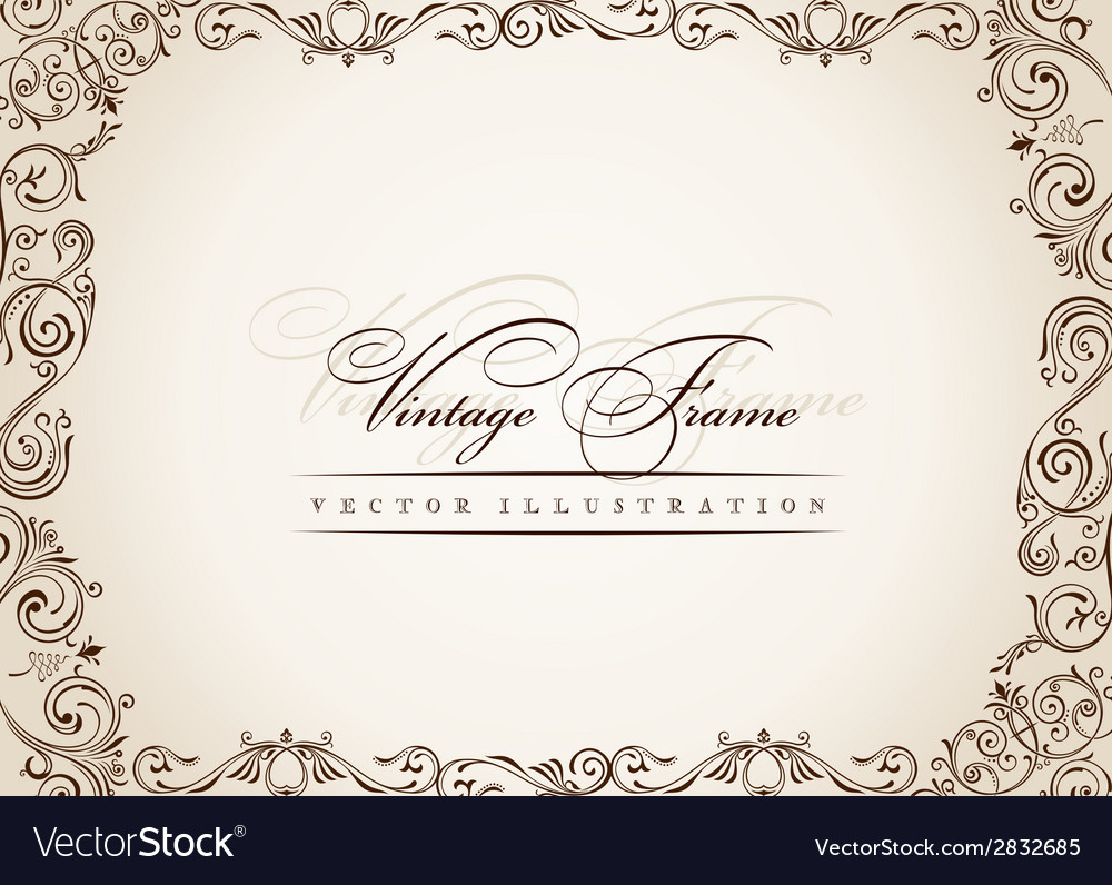 Frame vintage antique floral decor ornament vector | Price: 1 Credit (USD $1)