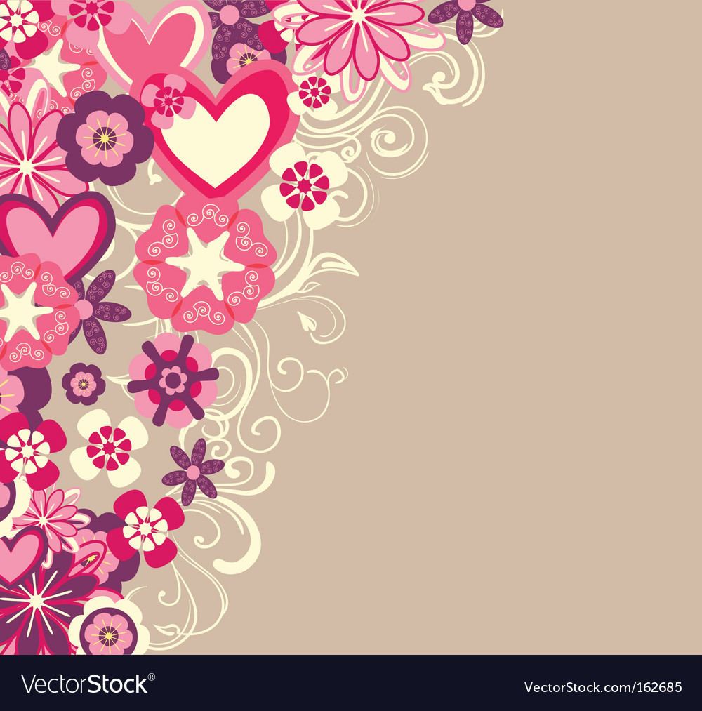 Hearts and flowers vector | Price: 1 Credit (USD $1)