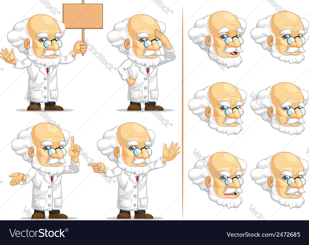 Scientist or professor customizable mascot 8 vector | Price: 1 Credit (USD $1)