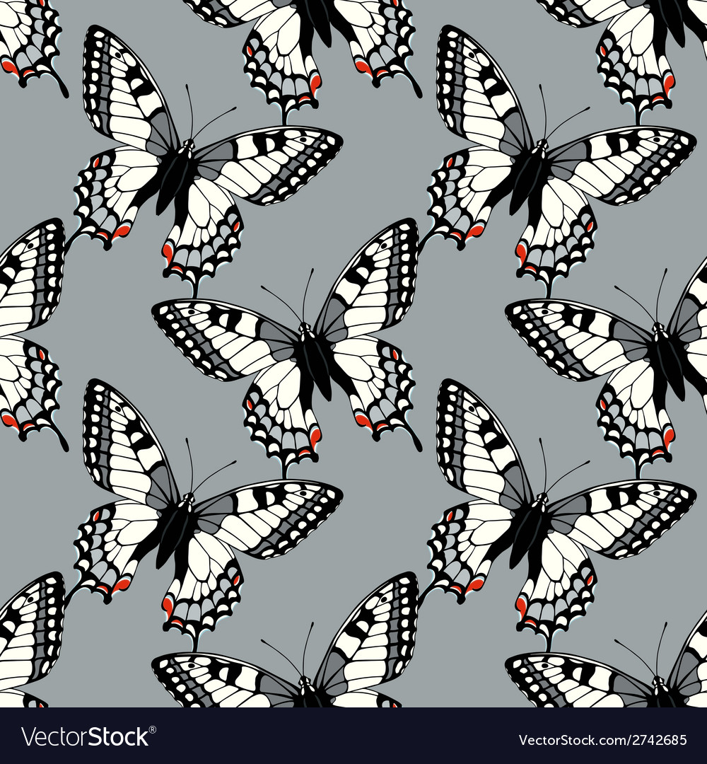 Seamless pattern with machaon swallowtail vector   Price: 1 Credit (USD $1)