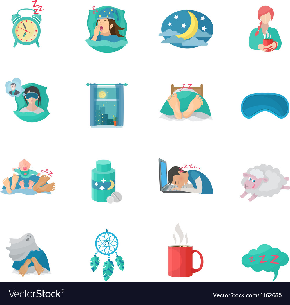 Sleep time flat icons set vector | Price: 1 Credit (USD $1)