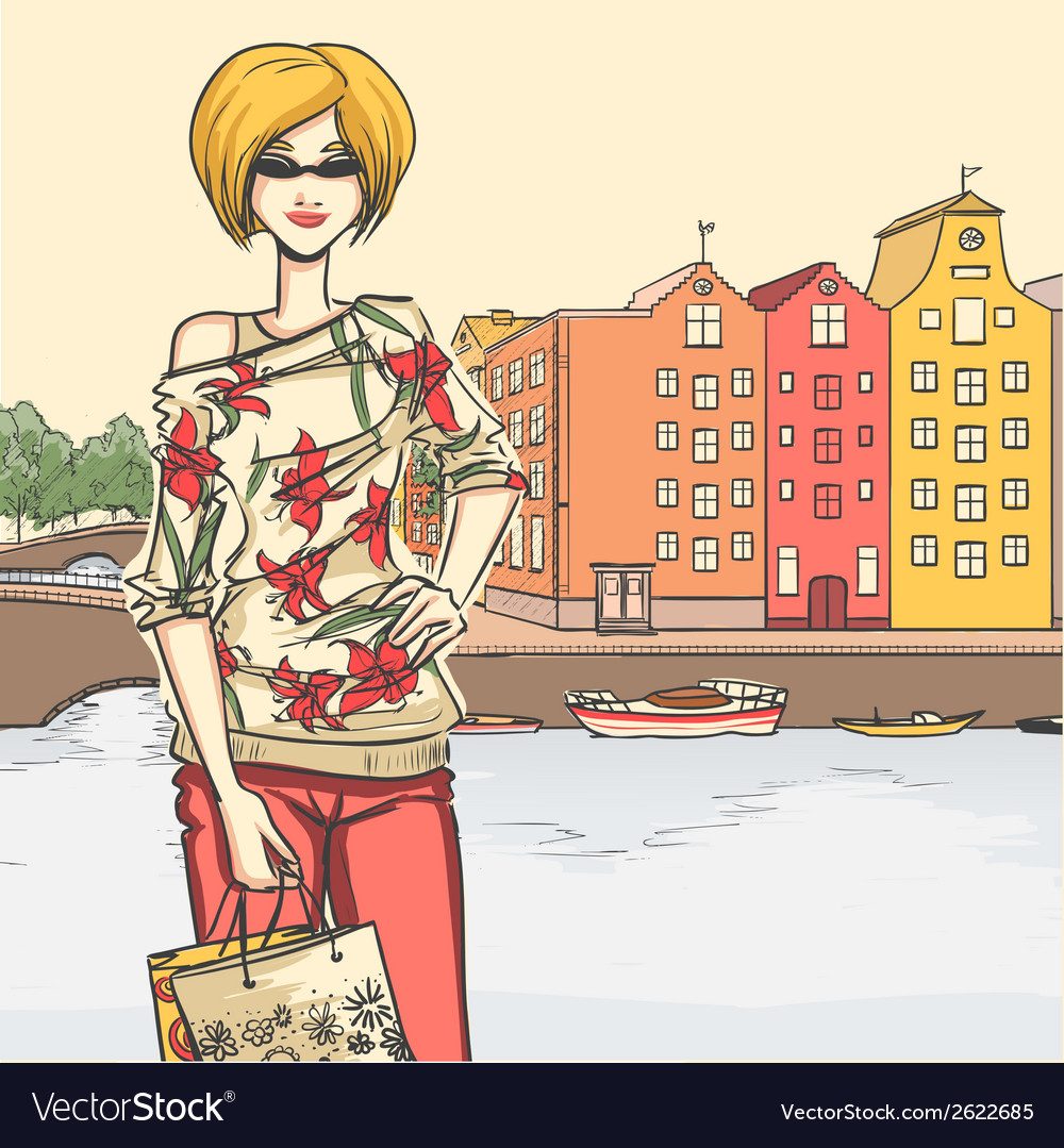 Urban view and elegant glamour girl after shopping vector | Price: 1 Credit (USD $1)