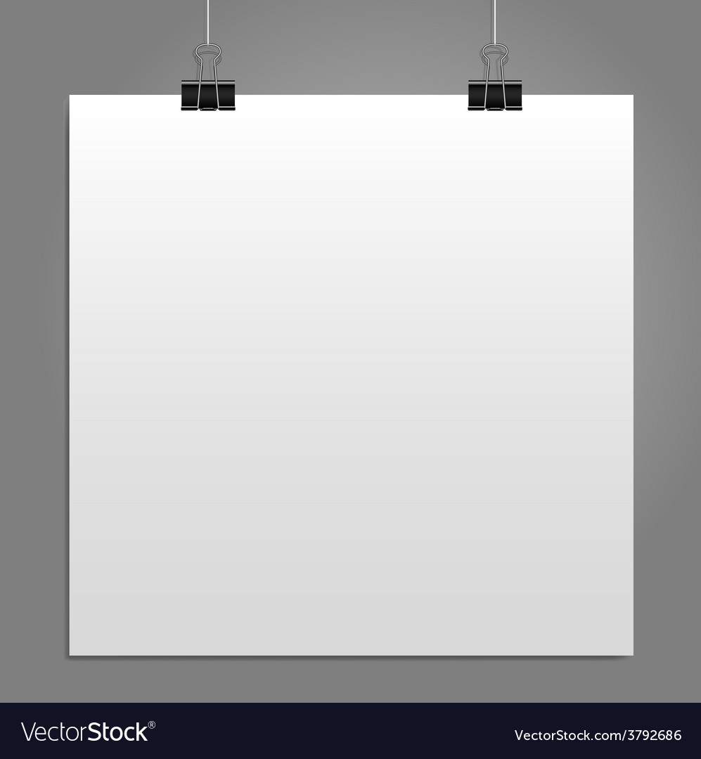 Blank square white page binder clip vector | Price: 1 Credit (USD $1)
