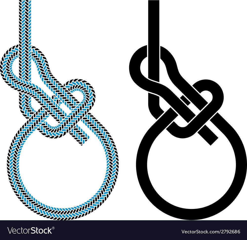 Bowline loop climbing rope knot symbols vector | Price: 1 Credit (USD $1)