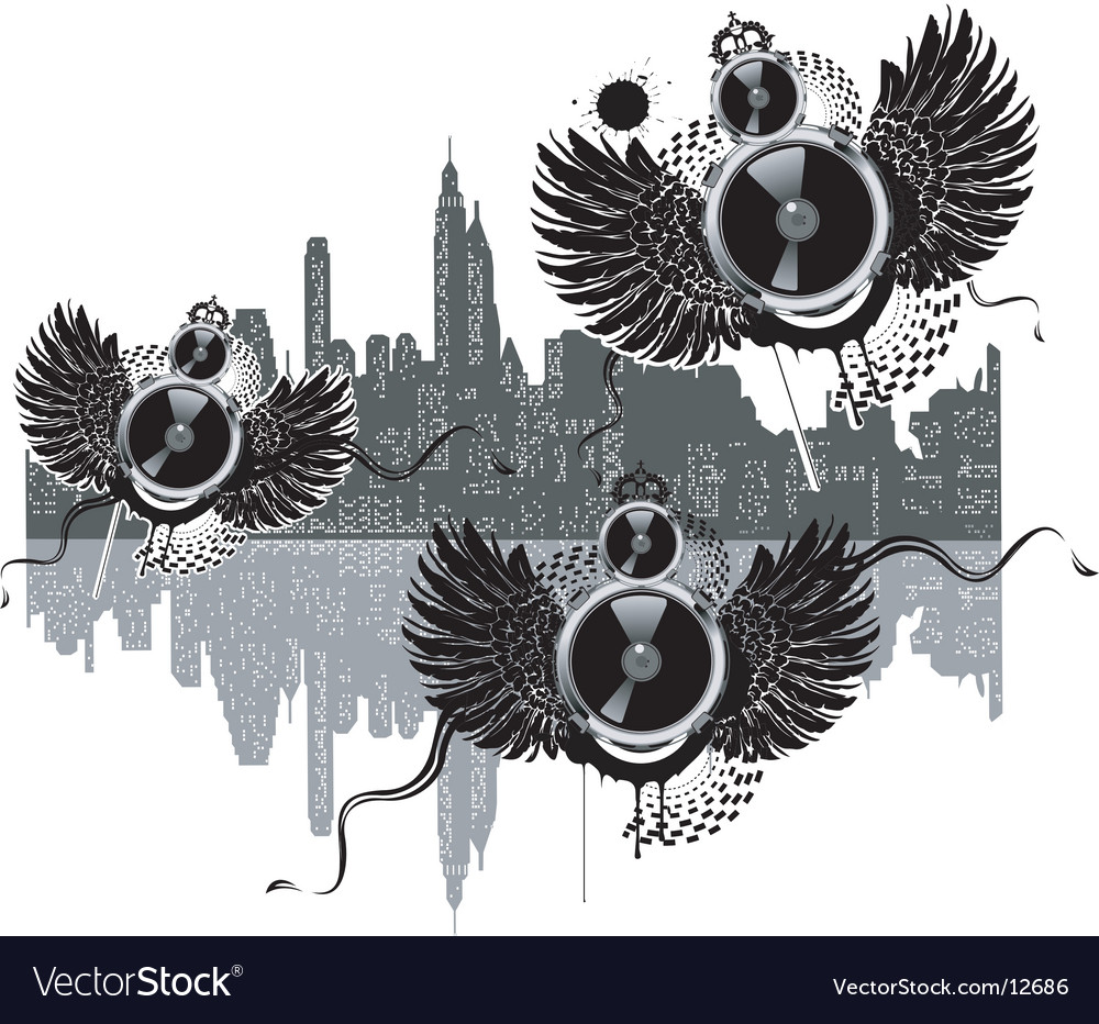 City of flying sound speakers vector | Price: 3 Credit (USD $3)