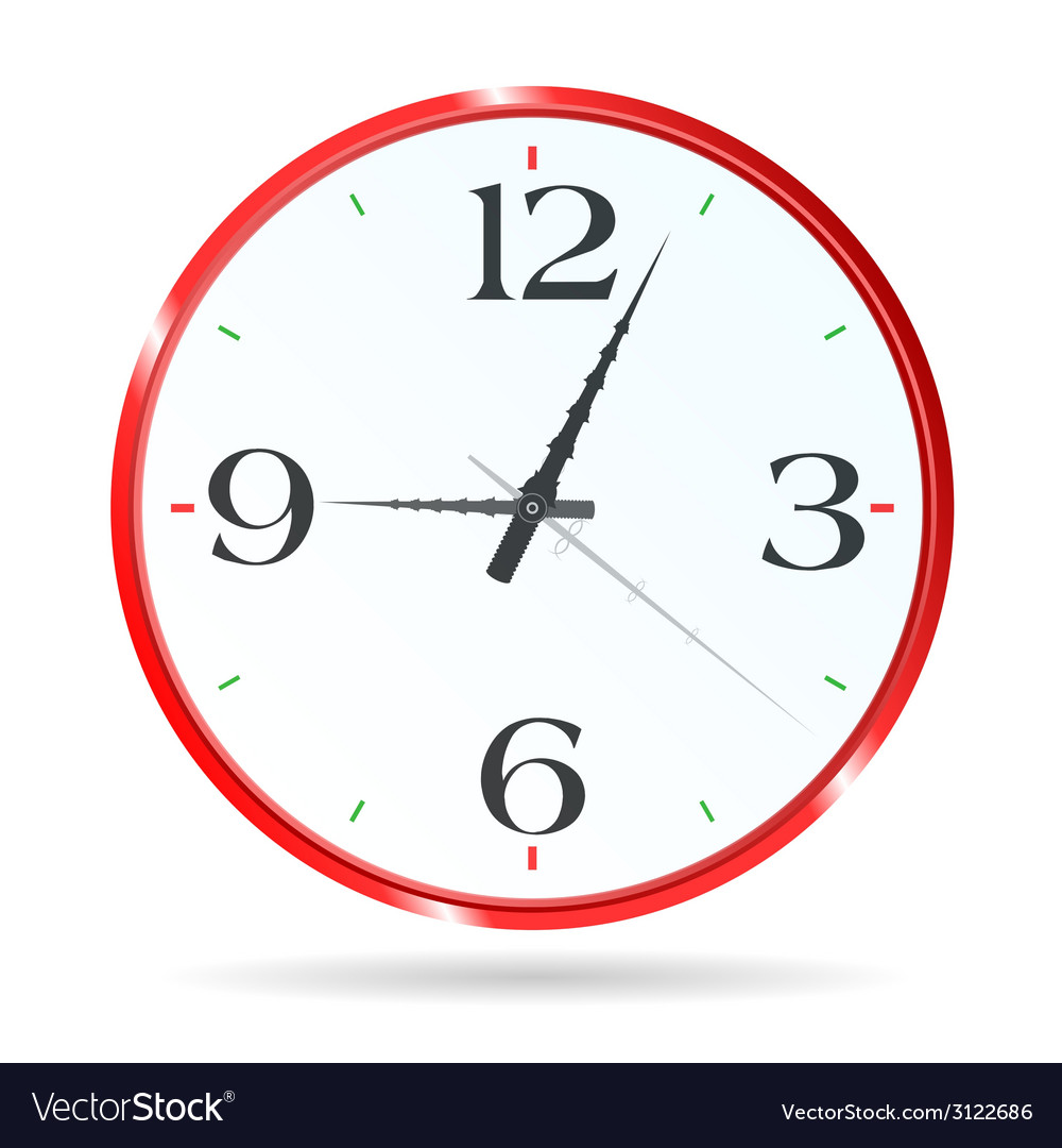 Clock for the room wall in red vector | Price: 1 Credit (USD $1)