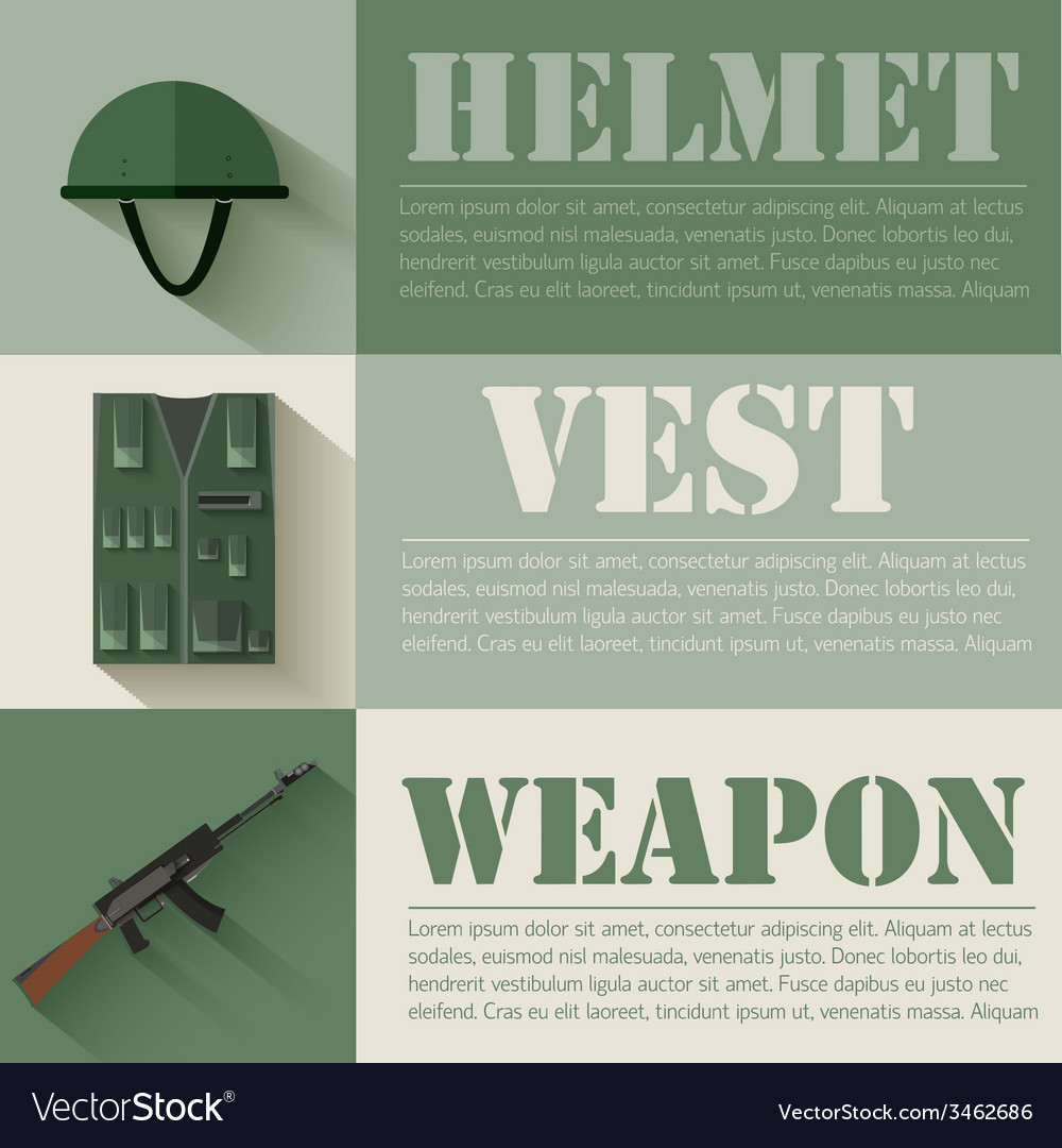 Flat military soldier equipment set design concept vector | Price: 1 Credit (USD $1)
