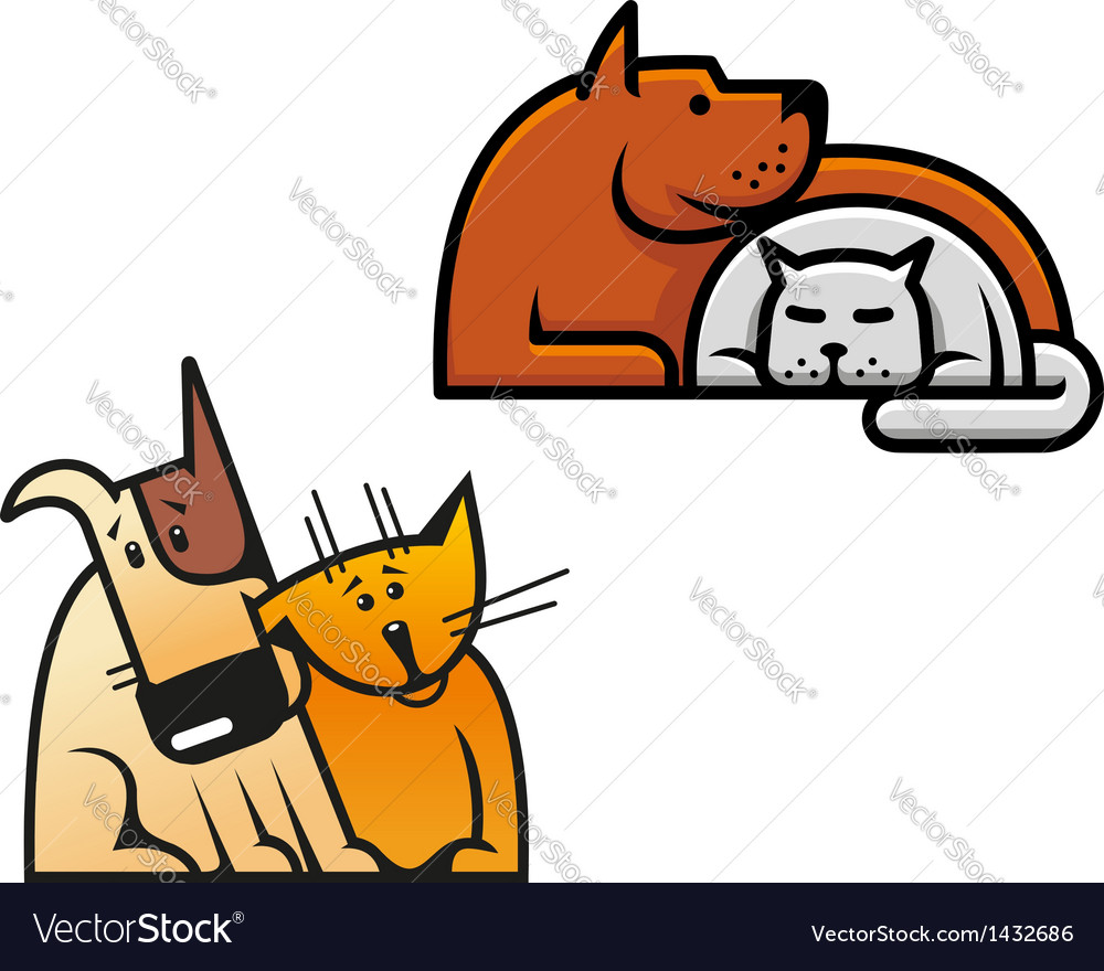 Friendship of dog and cat vector | Price: 1 Credit (USD $1)