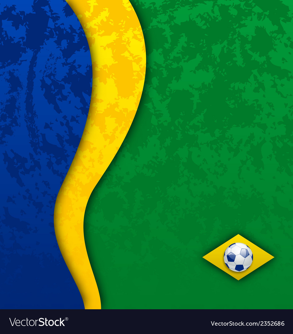 Grunge football background in brazil flag colors vector | Price: 1 Credit (USD $1)