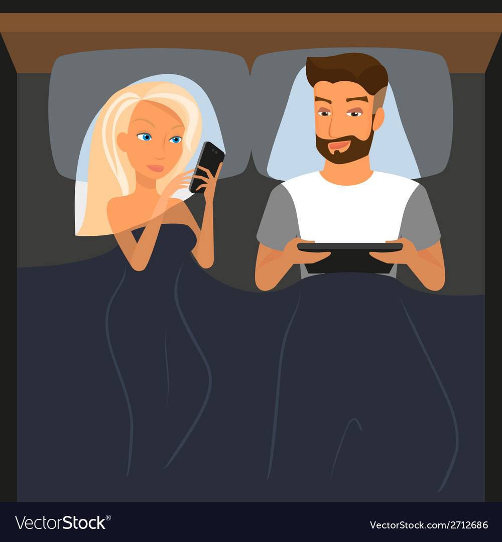 Happy couple using digital devices in bed at night vector | Price: 1 Credit (USD $1)