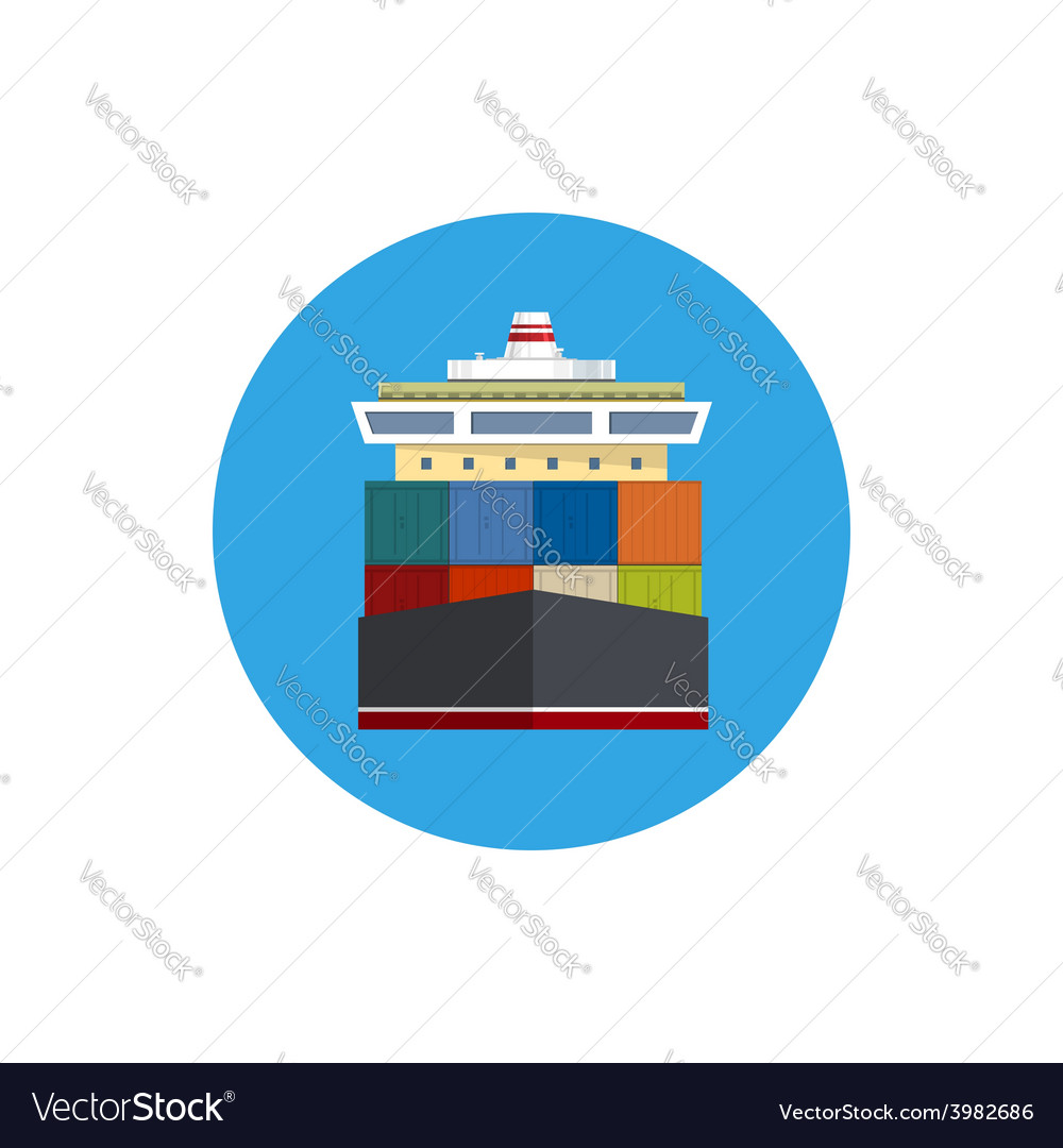 Icon cargo container ship vector | Price: 1 Credit (USD $1)