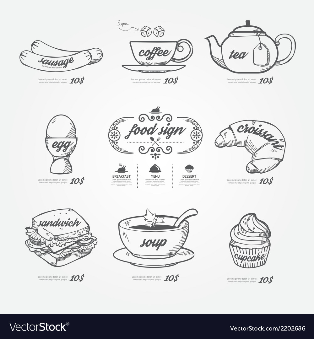Menu icons doodle drawn on chalkboard background vector | Price: 1 Credit (USD $1)