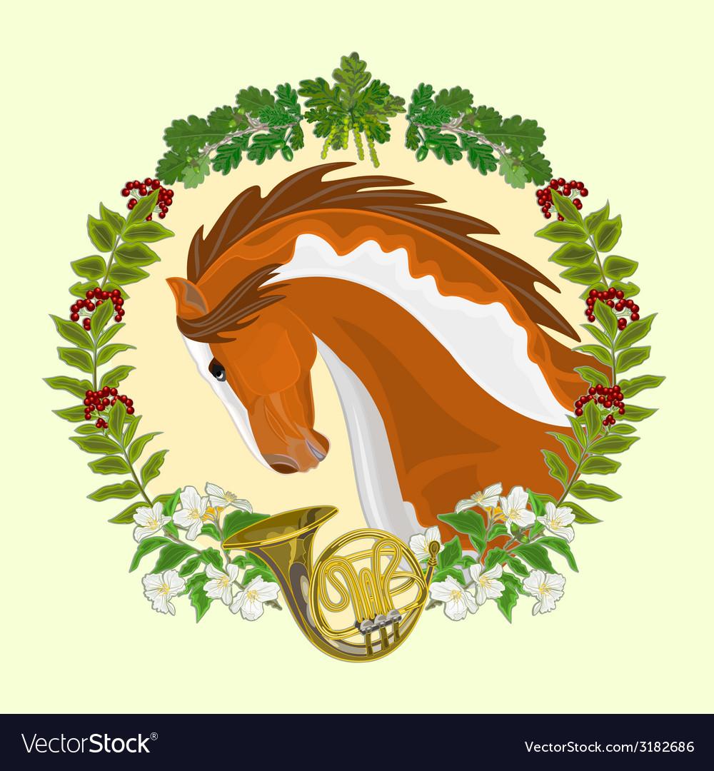 Piebald horse head of stallion leaves vector   Price: 1 Credit (USD $1)