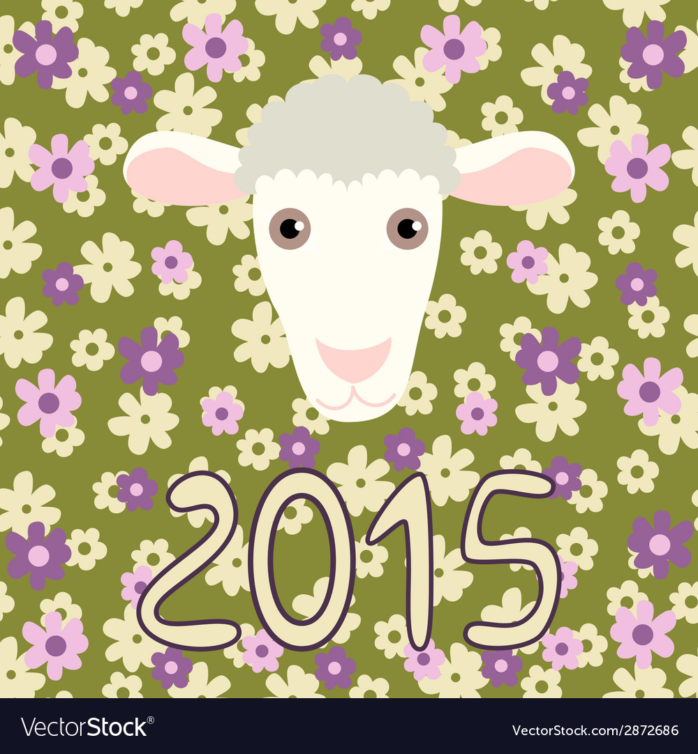 Retro card with cartoon sheep and flowers for vector | Price: 1 Credit (USD $1)